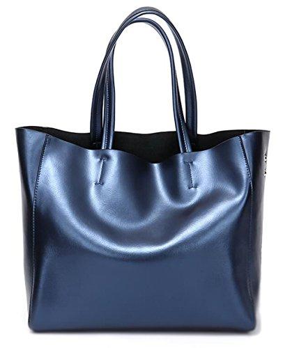 - Covelin Women's Handbag Genuine Soft Leather Tote Shoulder Bag Hot Blue