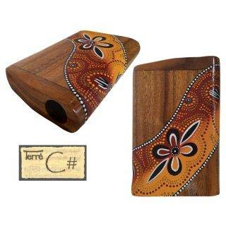 """Pocket didge, tuned in C#. This extremely small didge (height: 10"""", Length: 5"""") convinces with a powerful deep sound. It is hand carved and painted in Aborigine design."""