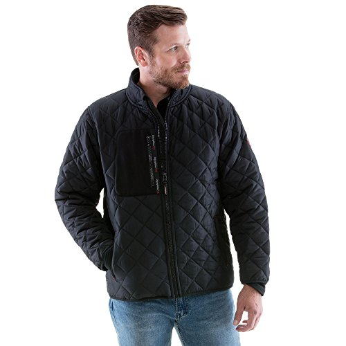 Black Diamond Fleece Jacket - Refrigiwear Men's Diamond Quilted Jacket with Fleece Lined Collar (Black, 3XL)