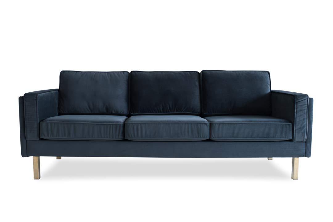 Edloe Finch Mid-Century Modern Grey Velvet Sofa, by Edloe Finch