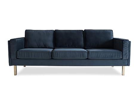 Edloe Finch Saint Albany Mid-Century Modern Grey Velvet Sofa,