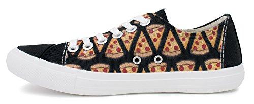Pizza Sneakers   Cute Fun Pepperoni Food Foodie Trainer Tennis Shoe - Women Men Black c2fcfl8