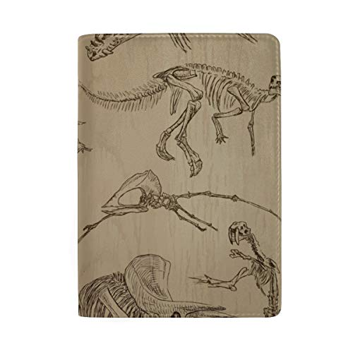 (Skeletons Of Dinosaurs And Fossils Blocking Print Passport Holder Cover Case Travel Luggage Passport Wallet Card Holder Made With Leather For Men Women Kids)