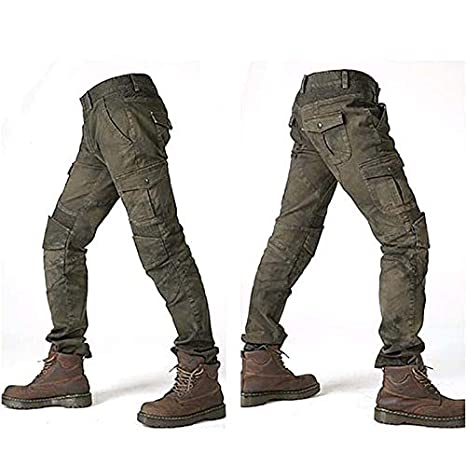 Mens Motorcycle Pants Protection Lining Motorbike Trousers with 2 Pair Protect Pads Army Green L- Waist 34.5