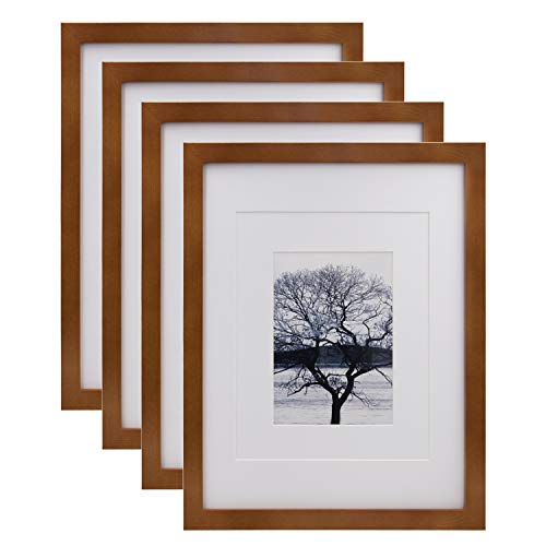 Egofine 11x14 Picture Frames 4 Pack Display Pictures 5x7/8x10 with Mat or 11x14 Without Mat Made of Solid Wood for Table Top Display and Wall Mounting Photo Frame, Light Brown