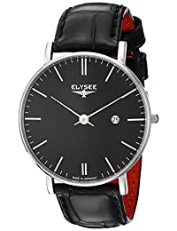 ELYSEE Men's 'Classic-Edition' Quartz Stainless Steel and Leather Casual Watch, Color:Black (Model: 98001.0)