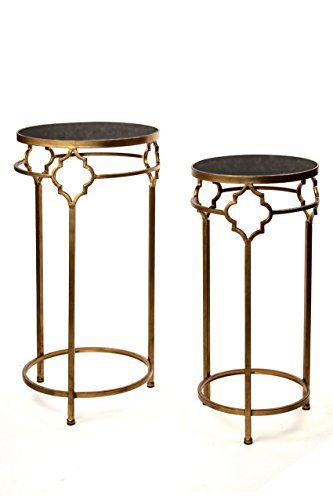 Vagabond Vintage, Set of 2 Gold Finished Iron and Black Stone End Tables - Gold Finished Iron