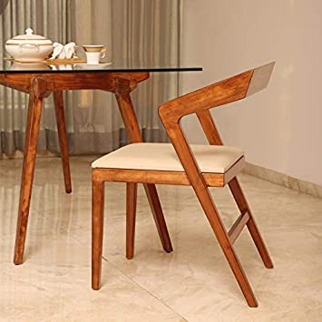 F9 Furnichair Wings Solid Wood Dining Chair in Teak Wood Finish