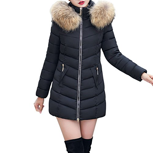 JESPER Fashion Winter Women Puffer Jacket Long Thick Warm Slim Coat Removable Hooded Black (Black Leather Jacket With White Fur Collar)