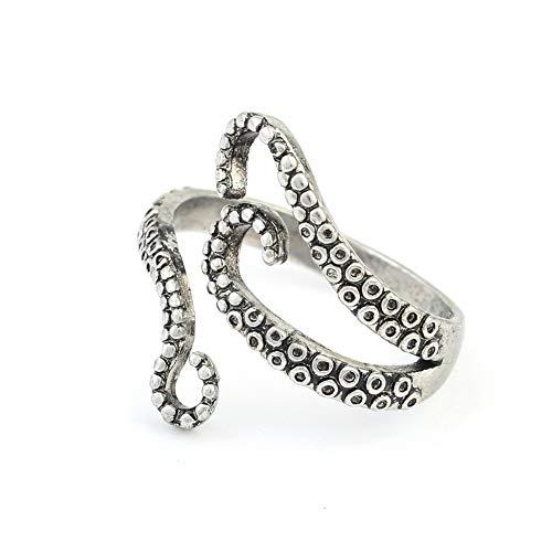 bromrefulgenc Fashion Ring for Women,Vintage Unisex Carved Octopus Adjustable Open Ended Finger Ring Jewelry Decor ()