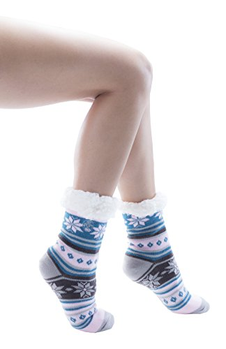 Frozen Folk Fleece-Lined Cozy Thick Winter Slipper Socks, Non-Skid Soles, Fluffy Warm ( 3 Pairs Pack A )