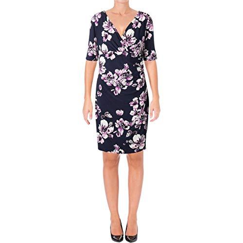 Jersey Short Sleeve Wrap Dress - Lauren Ralph Lauren Womens Petites Jersey Short Sleeve Wrap Dress Navy 12P