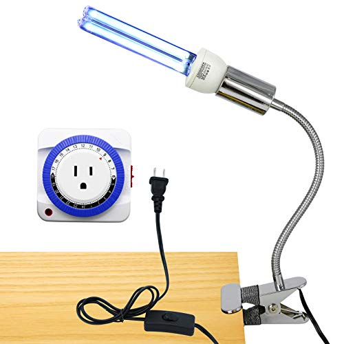 - UV Germicidal Light UVC & Ozone Bulb with Clip Lamp Base/Mechanical Timer / E26 25w 110v Covers up to 400sq ft.