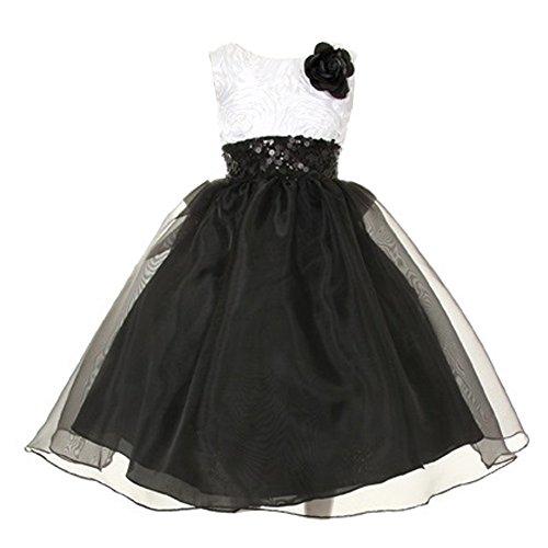 KiKi Kids USA Little Girls Black White Satin Rosette Sequin Organza Flower Girl Dress 6 from KiKi Kids USA