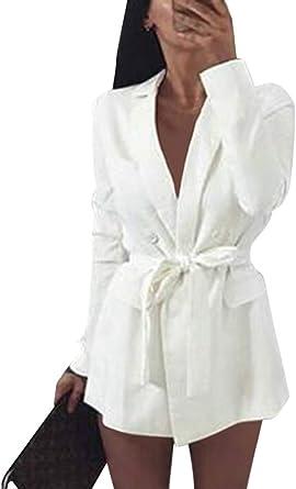 Minetom Femmes Robe Moulante Sexy Slim Fit Mini Robe Avec Ceinture Blazer Robes De Soiree Chic Manches Longues Ol Bureau Manteau Veste Amazon Fr Vetements Et Accessoires