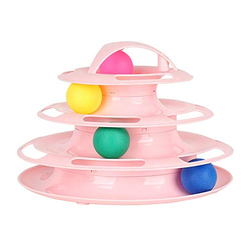 STAJOY Cat Toys Roller,4 Level Tower of Tracks Interactive Cat Toys Ball Fun Play and Exercise for Kitty Cats and Kittens (Pink)