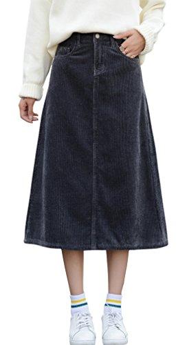 - chouyatou Women's Casual High-Waist 5 Pocket A Line Corduroy Calf Length Skirts (X-Small, Grey)