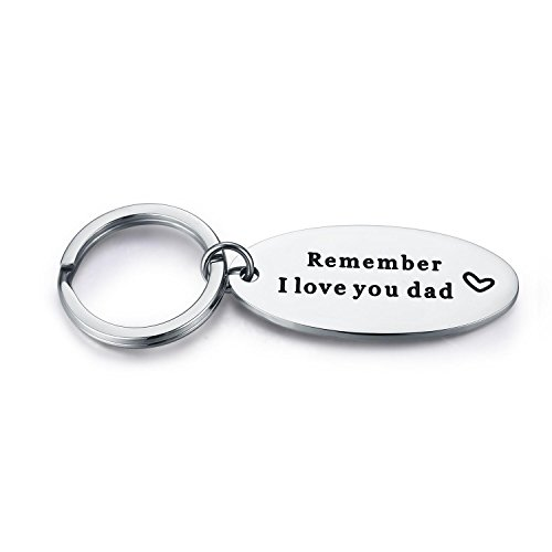 Udobuy Stainless Steel Daddy Father's Gift Keychain - Remember I Love You Dad Keychain Personalised Dad Daddy Gift Present Keychain (Gift Heart Keychain)