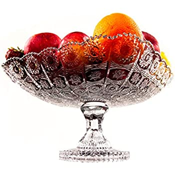 9.8 Vintage Depression Style Glass Pedestal Fruit Pastry Stand Centerpiece Dish
