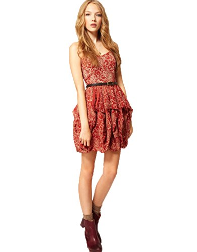 French Connection Wonder Flower Red Floral Strapless Cotton Bubble Mini Dress (0)
