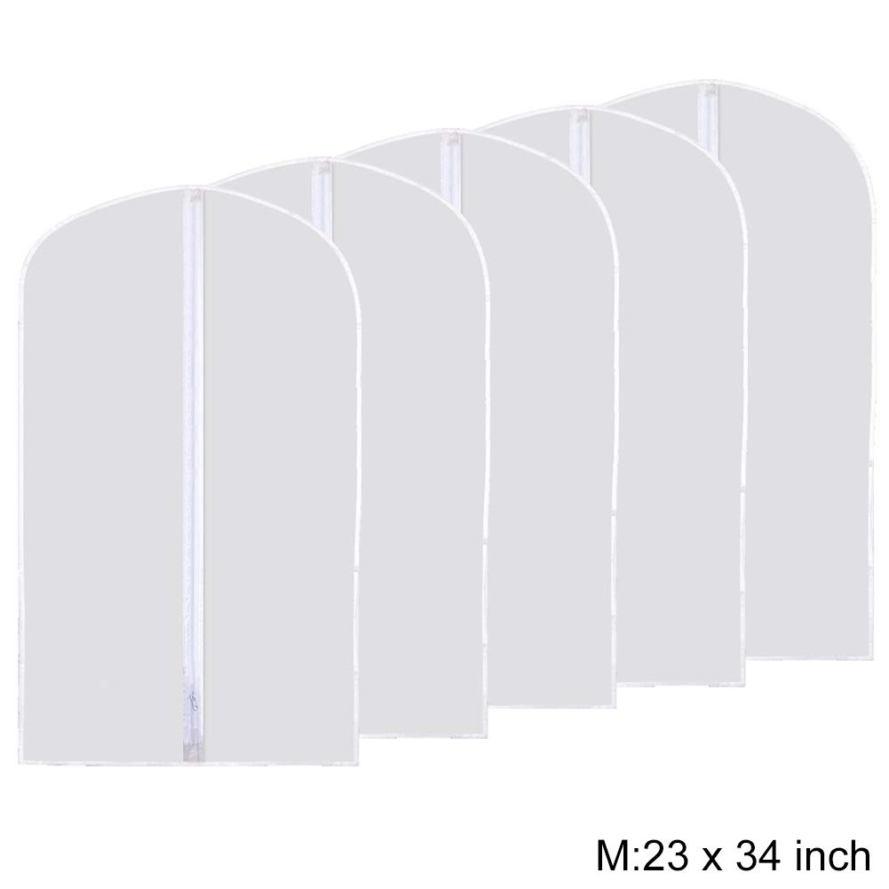 Plixio White Garment Bags Suit Bag for Travel and Clothing Storage for Hanging Dresses 5 Pack Dress Shirts Coats/—Includes Zipper and Transparent Window