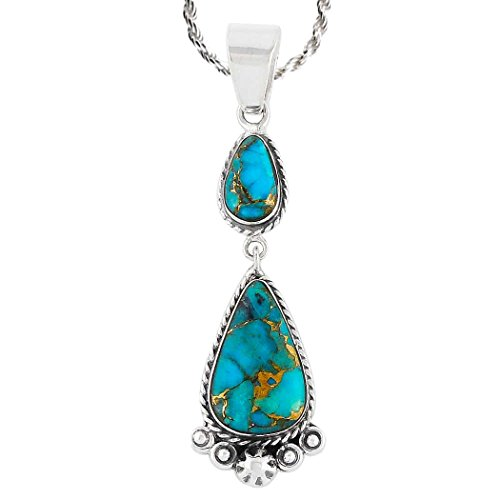"Turquoise Necklace 925 Sterling Silver & Genuine Turquoise Pendant with 20"" Chain"