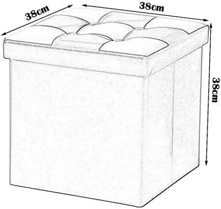 qwert Aufbewahrungsbox Leder Fußbank Klappbar Gepolsterte Fußbank Aufbewahrung Ottoman Basket Hocker Klappbarer Einzelsitz für Wohn- und Schlafzimmer Max.150KG