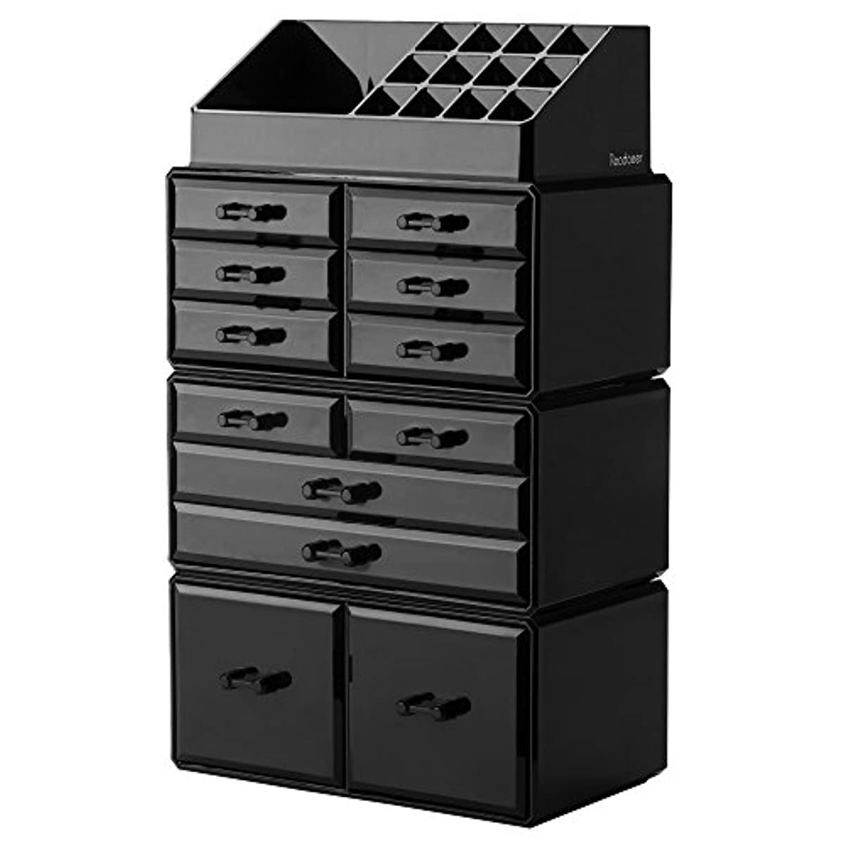 Details about (Black) Makeup Organizer Storage Drawers Display Boxes Case  with 12 Drawers