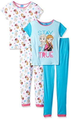 (Disney Toddler Girls' Frozen 4-Piece Cotton Pajama Set, Blue, 4T)