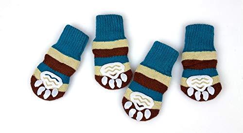 Gold Happy 4Pc/Set Cute Christmas Socks Thicken Warm Cotton Pet Dog Cat Socks Pink Striped Socks Plus Size S/M/L/XL/XXL