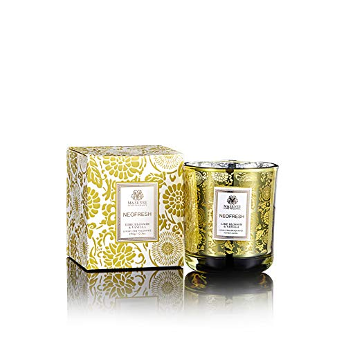 Lime Blossom Soy Wax Candle - M&SENSE Natural Floral Soy Candles Made from Organic Ingredients (Lime Blossom&Vanilla 10.3oz)
