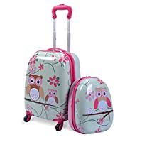 """Custpromo 2 pcs ABS Kids Suitcase Lightweight Backpack Luggage Set 16"""" Carry On Luggage with Spinner Wheels and 12"""" Backpacks Set for 2, 3, 4 year olds,Boys and Girls (Owls)"""