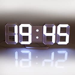 Lily's Home Minimalist LED Clock - Digital Led Desk / Wall Clock (White)