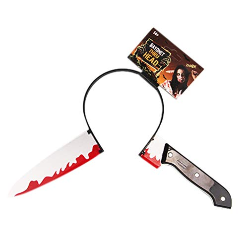 EA-STONE Halloween Headband Kit,Halloween Hair Hoop Knife Through Head Funny Scary Headband Fake Blood Props (A)