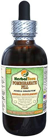 Pomegranate Pill, Dika (Punica Granatum) Dried Peel Alcohol-Free Liquid Extract (Brand Name: HerbalTerra, Proudly Made in USA) 2 oz