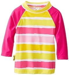 Baby Banz Baby Girls\' Long Sleeve UV Rash Top Sun Blossom Stripe, Sunblossom, 3-6 Months