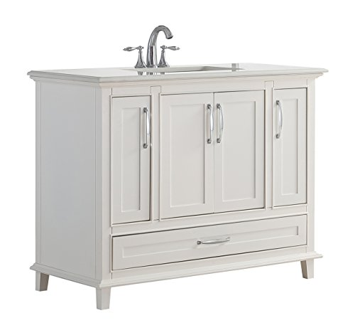 Simpli Home AXCVARW-42 Ariana 42 inch Traditional Bath Vanity in Soft White with Bombay White Engineered Quartz Marble Top ()