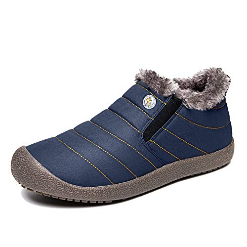 Enly Winter Snow Boots Slip-on Water Resistant Booties for Men Women, Anti-Slip Lightweight Ankle Boots with Full Fur