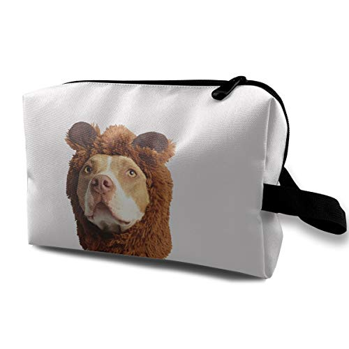 Cute Christmas Dog Brown And White American Pit Bull Terrier With Brown Costume Multi-function Travel Makeup Toiletry Coin Bag Case