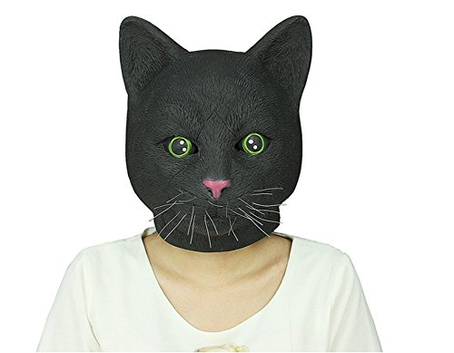 Sunxue Halloween Latex Cat Head Mask and Animal Mask for Costume Party (Black) (Halloween Cat Whiskers)