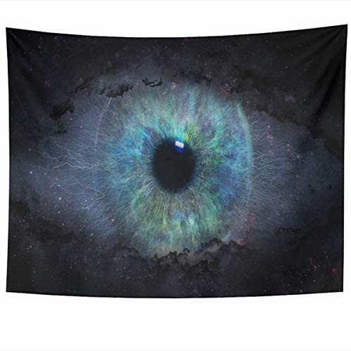 - Ahawoso Tapestries 80 x 60 Inches Black Blue Galaxy Open Eye in Space Iris Star Abstract Alien Astrology Design Surreal Home Decor Tapestry Wall Hanging for Living Room Bedroom Dorm