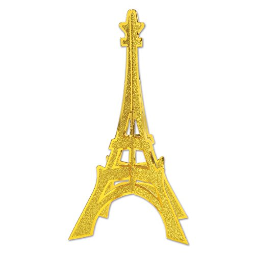 Club Pack of 12 Gold 3-D Glittered Paris Themed Eiffel Tower Centerpieces 12