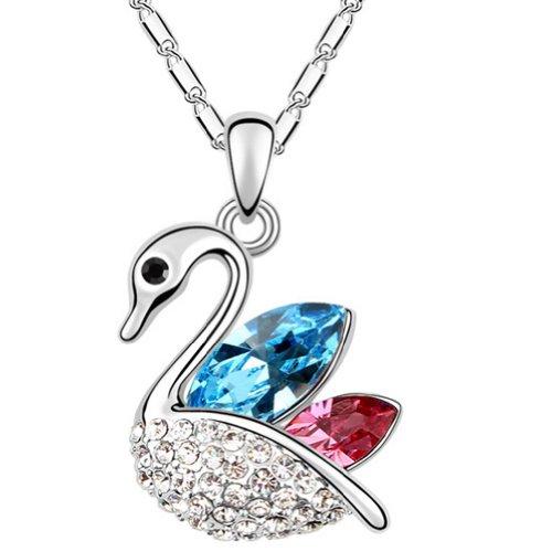 Brass 18k Gold Electroplated (Latigerf Charm Goose Pendant Necklace White Gold Plated Swarovski Elements Crystal Blue)