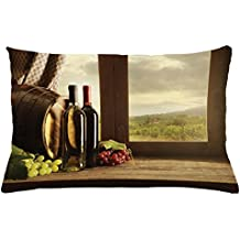 Lunarable Winery Throw Pillow Cushion Cover, Dark Clouds over Vineyard Rainy Weather View from Window of Farmhouse Scenery, Decorative Accent Pillow Case, 26 W X 16 L Inches, Green Brown Red