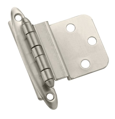 - 3/8in (10 mm) Inset Non Self-Closing, Face Mount Satin Nickel Hinge - 2 Pack