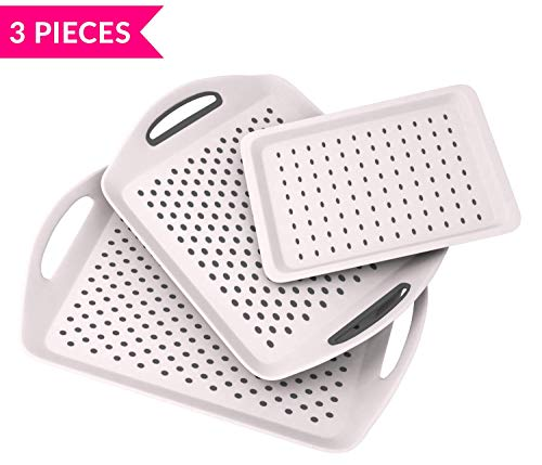 """Bravi 3PC Anti-slip Food Serving Tray with handles 17.9"""" + 15.7"""" + 13"""" Dinner trays for lap + small drink tray   Breakfast tray   Bed tray   Food tray   Trays for eating"""