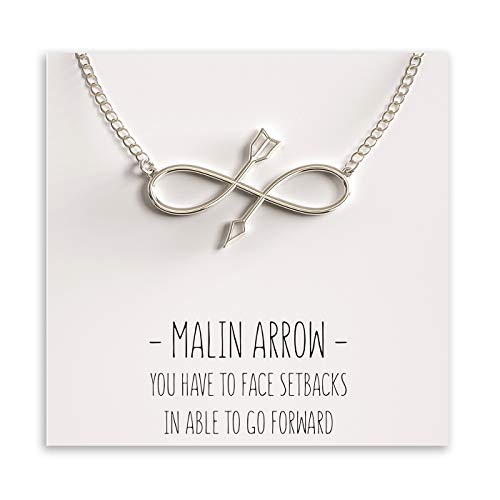 Happy Kisses Malin Infinity Arrow Pendant Necklace - Silver with Inspirational Quote - Necklace Bow Silver