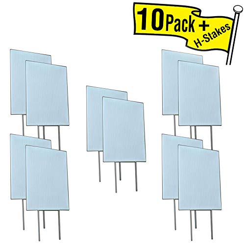 Visibility Signage Experts Blank Yard Signs 12x18 with 6x12 H-Stakes for Garage Sale Signs, for Rent, Open House, Estate Sale, Now Hiring, or Political Lawn Sign (10)