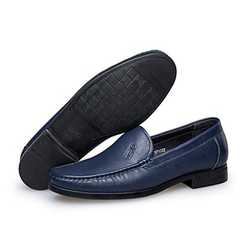 ZRO Mens Moc Toe Leather Slip-On Loafer business shoes Blue YaJYbPz