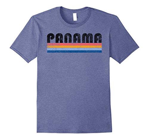 Mens Vintage 1980s Style Panama T Shirt Medium Heather Blue
